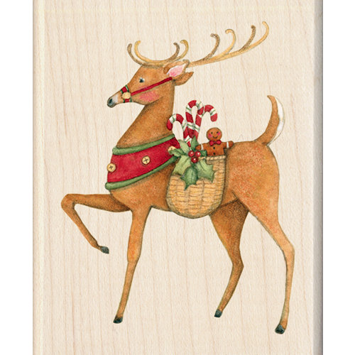 Inkadinkado - Holiday Collection - Christmas - Wood Mounted Stamps - Reindeer