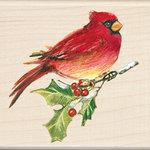 Inkadinkado - Holiday Collection - Christmas - Wood Mounted Stamps - Cardinal
