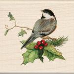 Inkadinkado - Holiday Collection - Christmas - Wood Mounted Stamps - Chickadee