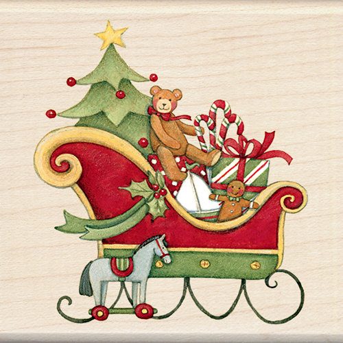 Inkadinkado - Holiday Collection - Christmas - Wood Mounted Stamps - Santa's Sleigh