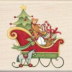 Inkadinkado - Holiday Collection - Christmas - Wood Mounted Stamps - Santa's Sleigh