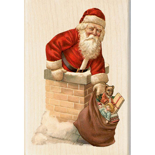 Inkadinkado - Holiday Collection - Christmas - Wood Mounted Stamps - Santa Chimney