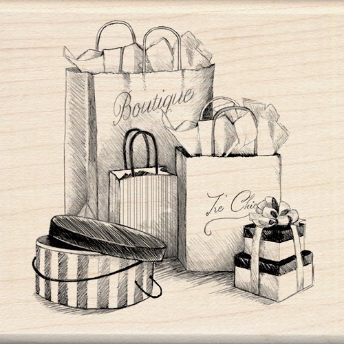 Inkadinkado - Out on the Town Collection - Wood Mounted Stamps - Shopping Bags