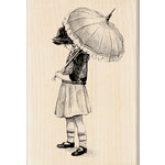 Inkadinkado - Out on the Town Collection - Wood Mounted Stamps - Umbrella Girl