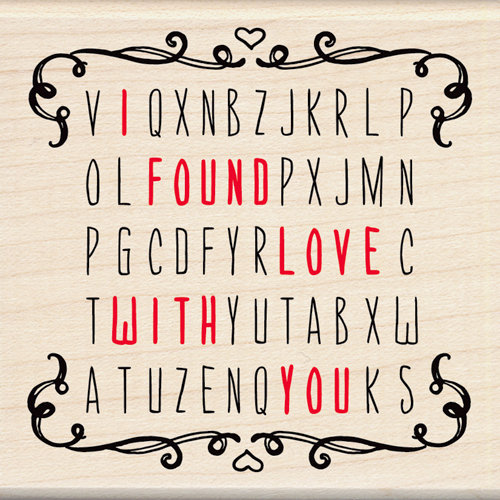 Inkadinkado - Valentine's Day Collection - Wood Mounted Stamps - Word Search