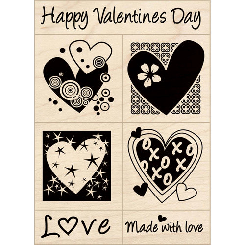 Inkadinkado - Valentine's Day Collection - Wood Mounted Stamps - Valentine's Set