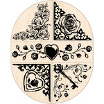 Inkadinkado - Valentine's Day Collection - Wood Mounted Stamps - Roses Oval Set
