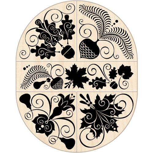 Inkadinkado - Wood Mounted Stamps - Autumn Leaves Oval Set
