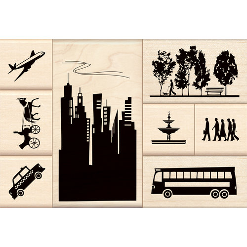 Inkadinkado - Stamp-a-Story Collection - Wood Mounted Stamps - Life in the City Set