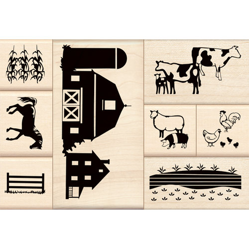 Inkadinkado - Stamp-a-Story Collection - Wood Mounted Stamps - Life in the Country Set