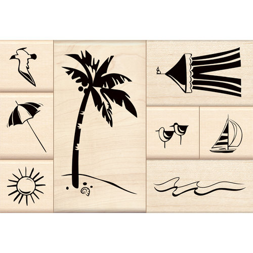 Inkadinkado - Stamp-a-Story Collection - Wood Mounted Stamps - Day at the Beach Set