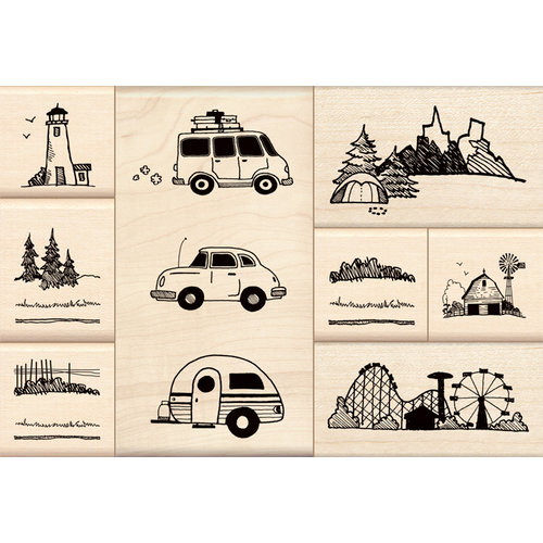 Inkadinkado - Stamp-a-Story Collection - Wood Mounted Stamps - On the Road Set