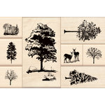 Inkadinkado - Stamp-a-Story Collection - Wood Mounted Stamps - Trees Set
