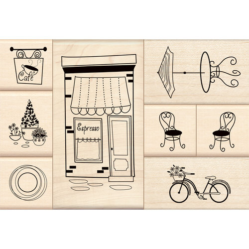 Inkadinkado - Stamp-a-Story Collection - Wood Mounted Stamps - Cafe Set
