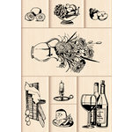 Inkadinkado - Layering Wood Scenes Collection - Wood Mounted Stamps - Classic Still Life Set