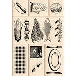 Inkadinkado - Layering Wood Scenes Collection - Wood Mounted Stamps - Backyard BBQ Set