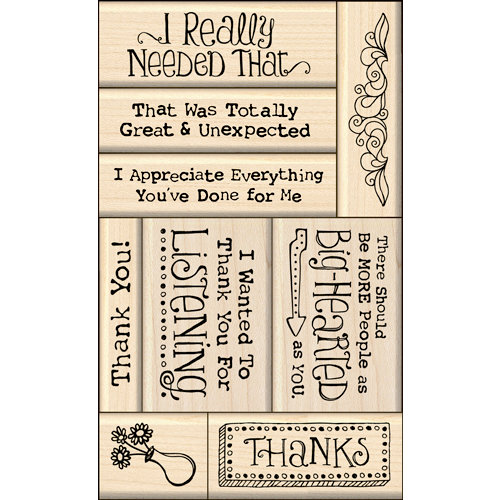 Inkadinkado - Layering Wood Card Making Collection - Wood Mounted Stamps - Thank You