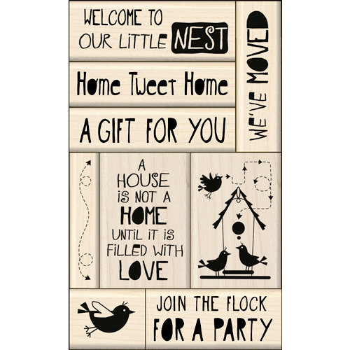 Inkadinkado - Layering Wood Card Making Collection - Wood Mounted Stamps - New Home