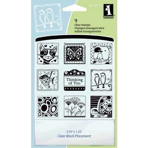 Inkadinkado - Refresh Collection - Clear Acrylic Stamp Set with Acrylic Block - Pattern Play Inchie