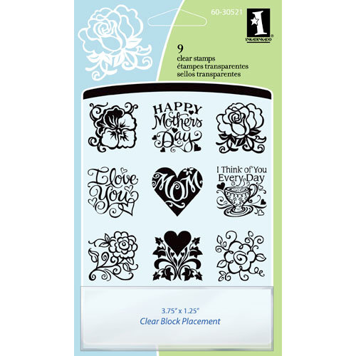Inkadinkado - Clear Acrylic Stamp Set with Acrylic Block - Mother's Day