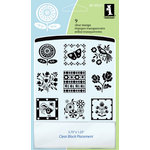 Inkadinkado - Clear Acrylic Stamp Set with Acrylic Block - Folk Patterns