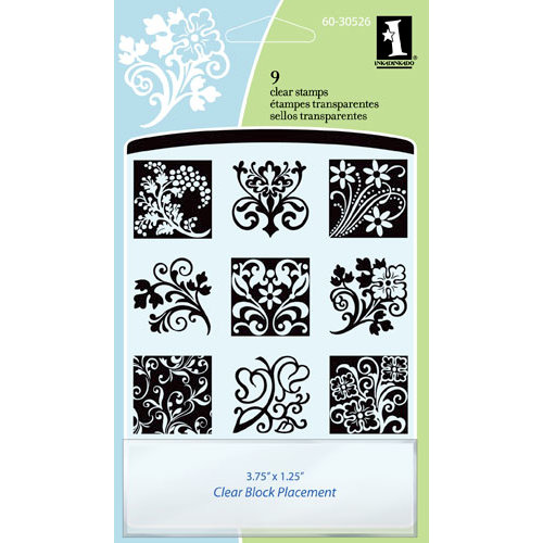 Inkadinkado - Clear Acrylic Stamp Set with Acrylic Block - Floral Flourishes