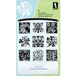 Inkadinkado - Clear Acrylic Stamp Set with Acrylic Block - Floral Flourishes