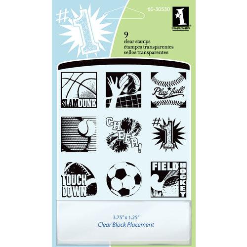 Inkadinkado - Clear Acrylic Stamp Set with Acrylic Block - Sports