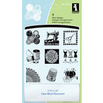 Inkadinkado - Clear Acrylic Stamp Set with Acrylic Block - A Stitch in Time