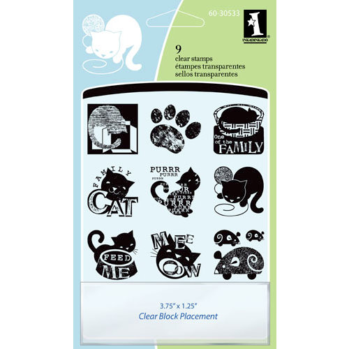 Inkadinkado - Clear Acrylic Stamp Set with Acrylic Block - Cats