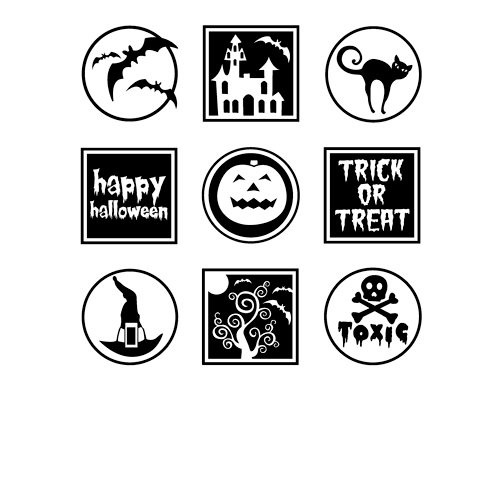 Inkadinkado - Halloween Collection - Clear Acrylic Stamp Set with Acrylic Block - Halloween Night