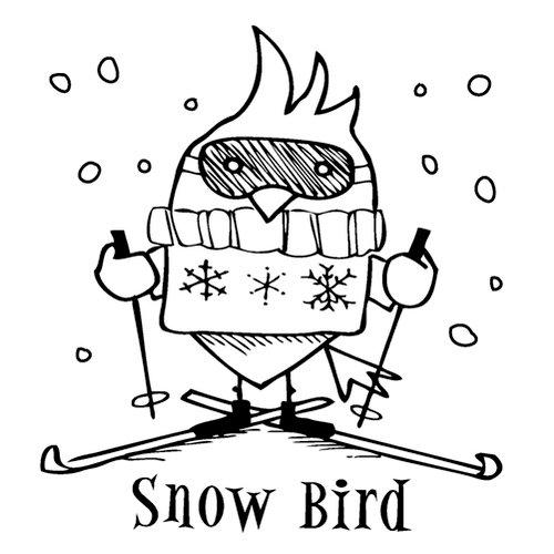 Inkadinkado - Christmas - Clear Acrylic Stamps - Mini Snow Bird