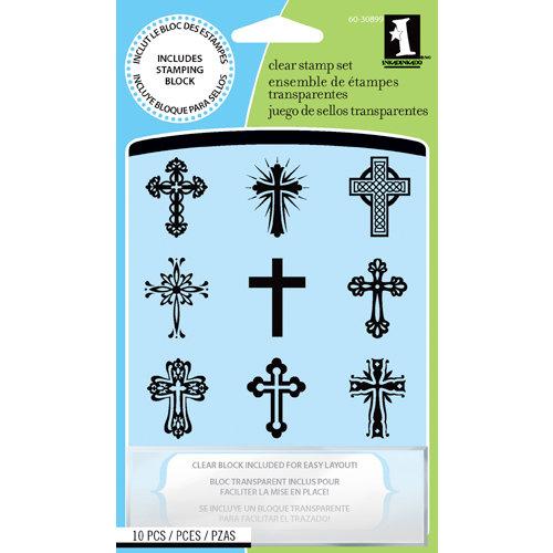 Inkadinkado - Clear Acrylic Stamp Set with Acrylic Block - Crosses