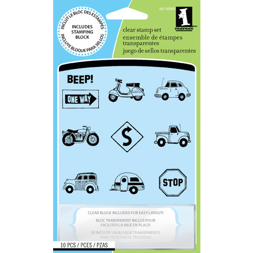Inkadinkado - Clear Acrylic Stamp Set with Acrylic Block - Freeway