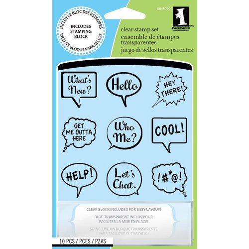 Inkadinkado - Clear Acrylic Stamp Set with Acrylic Block - Talk bubbles