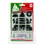 Inkadinkado - Holiday Collection - Christmas - Clear Acrylic Stamp Set with Acrylic Block - Christmas Morning