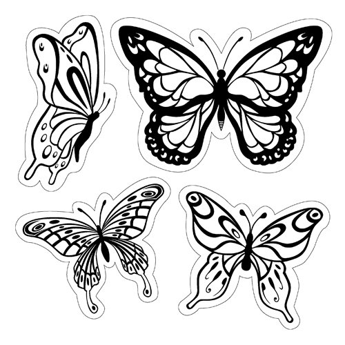 Inkadinkado - Inkadinkaclings Collection - Rubber Stamps - Butterflies