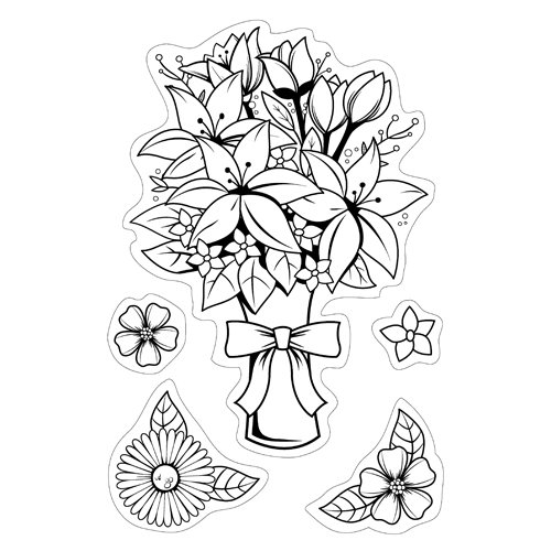 Inkadinkado - Inkadinkaclings Collection - Rubber Stamps - Floral Bouquet