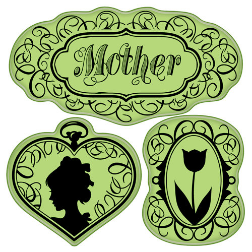 Inkadinkado - Mother's Day Collection - Inkadinkaclings - Rubber Stamps - Vintage Mother's Day
