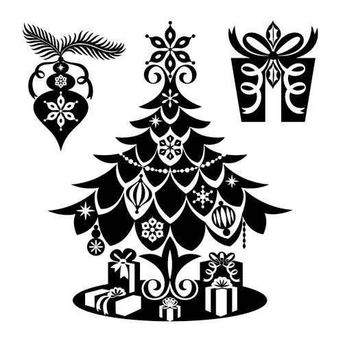 Inkadinkado - Inkadinkaclings Collection - Christmas - Rubber Stamps - Christmas Tree