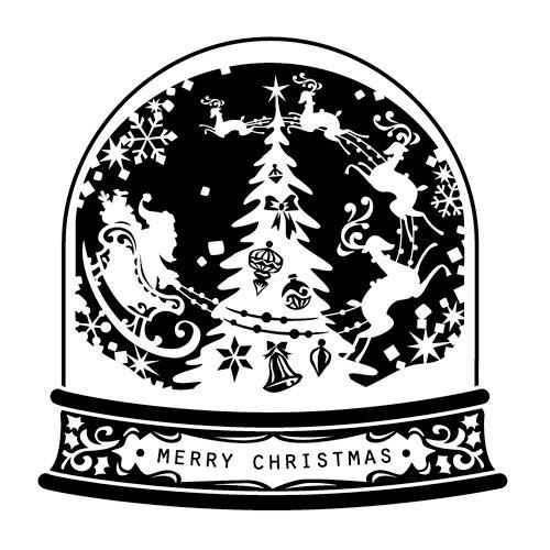 Inkadinkado - Inkadinkaclings Collection - Christmas - Rubber Stamps - Snow Globe