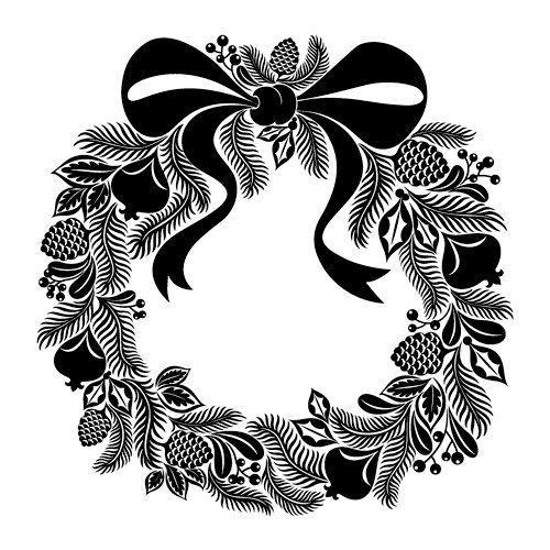 Inkadinkado - Inkadinkaclings Collection - Christmas - Rubber Stamps - Wreath