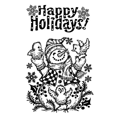 Inkadinkado - Inkadinkaclings Collection - Christmas - Rubber Stamps - Snowman and Friends