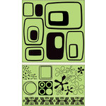 Inkadinkado - Background Clings Collection - Rubber Stamps - Large - Retro Shapes