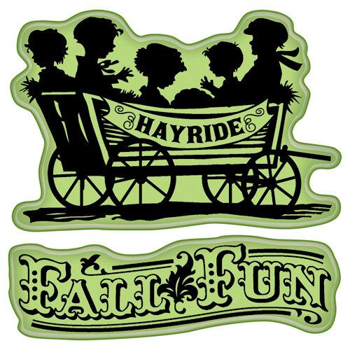 Inkadinkado - Fall Collection - Inkadinkaclings - Rubber Stamps - Fall Fun Hayride