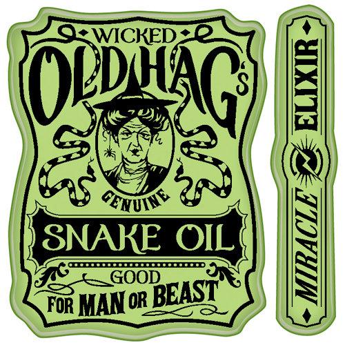 Inkadinkado - Halloween Collection - Inkadinkaclings - Rubber Stamps - Snake Oil Label