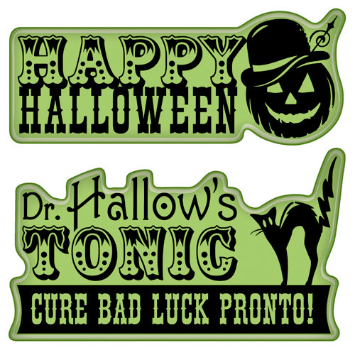 Inkadinkado - Halloween Collection - Inkadinkaclings - Rubber Stamps - Medicine Show Signage