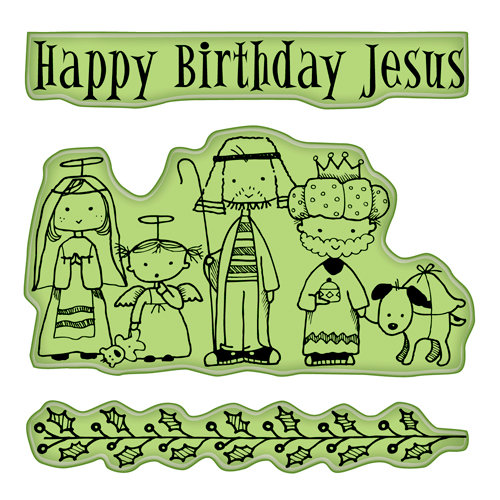 Inkadinkado - Holiday Collection - Christmas - Inkadinkaclings - Rubber Stamps - Happy Birthday Jesus