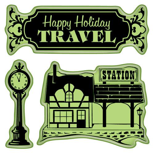 Inkadinkado - Holiday Village Collection - Christmas - Inkadinkaclings - Rubber Stamps - Village Station