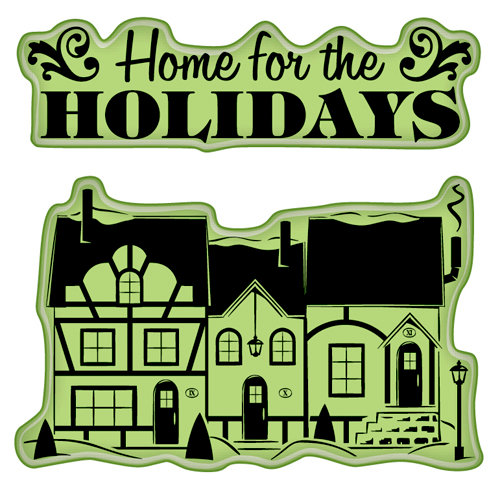 Inkadinkado - Holiday Village Collection - Christmas - Inkadinkaclings - Rubber Stamps - Village Quarters